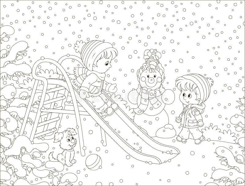 一张玩具幻灯片的孩子在冬天公园 库存例证