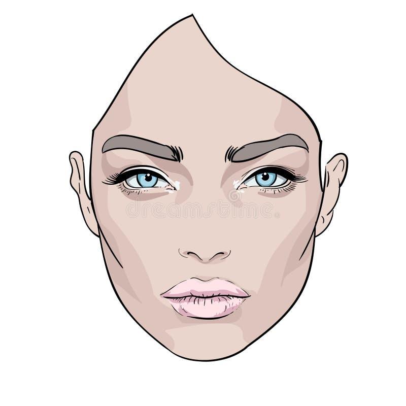 一张美丽的妇女s面孔 创造性 方式纵向 向量 向量例证