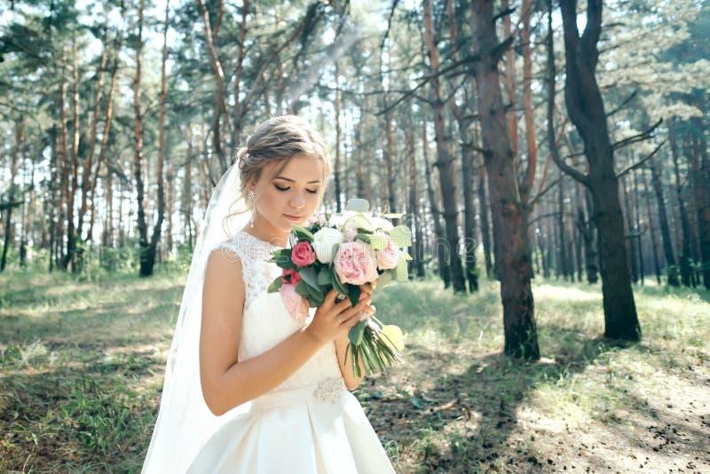 一张美丽的新娘画象在森林里惊人的年轻bri 图库摄影