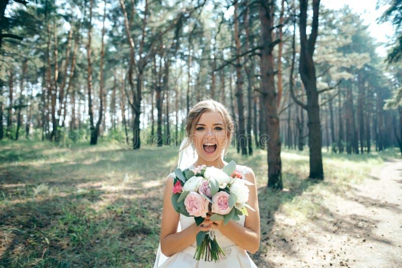 一张美丽的新娘画象在森林里惊人的年轻bri 库存图片