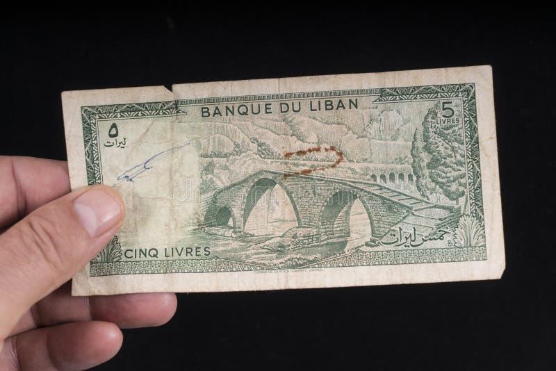 一张老黎巴嫩钞票 免版税库存照片