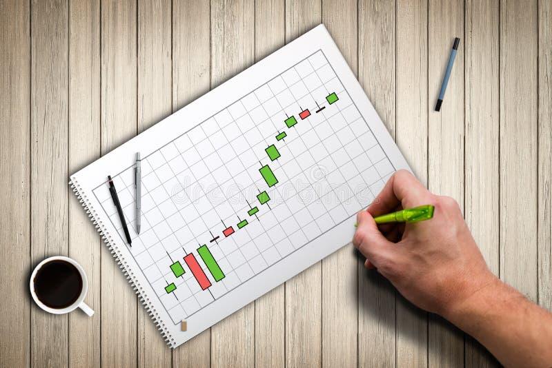 一张股票价格图的图画 图库摄影