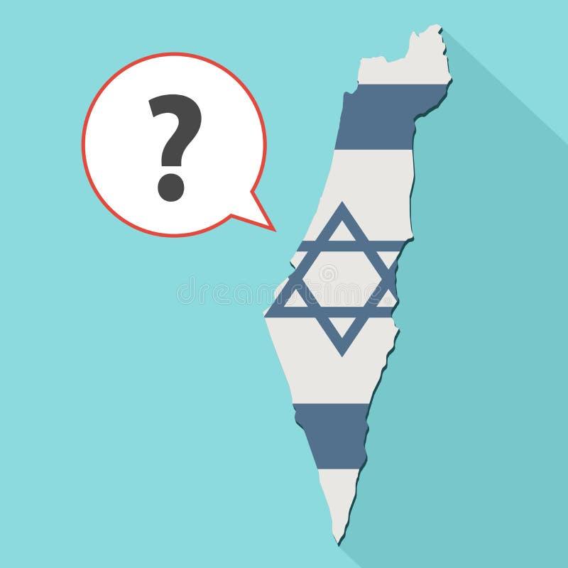 一张长的阴影以色列地图的动画与它的旗子和可笑的 库存例证
