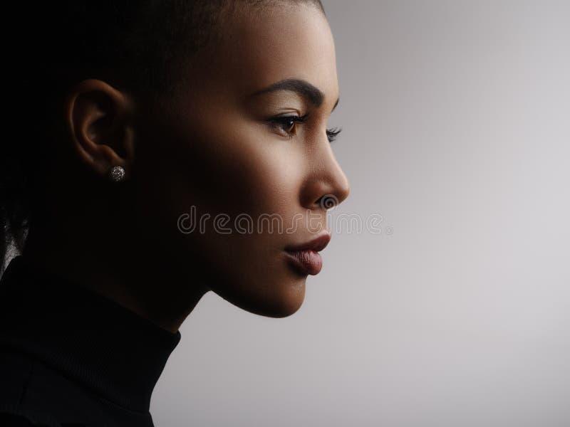 一张非裔美国人的女性式样面孔的演播室照片,外形 库存照片