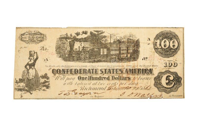 一张$100同盟钞票从1862 免版税库存照片