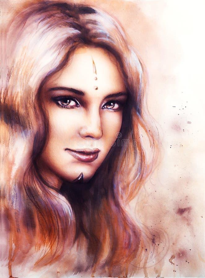 一张年轻迷人妇女面孔的画象与长的波浪发的和森林地神仙的智慧提示闪耀在她的眼睛的 皇族释放例证
