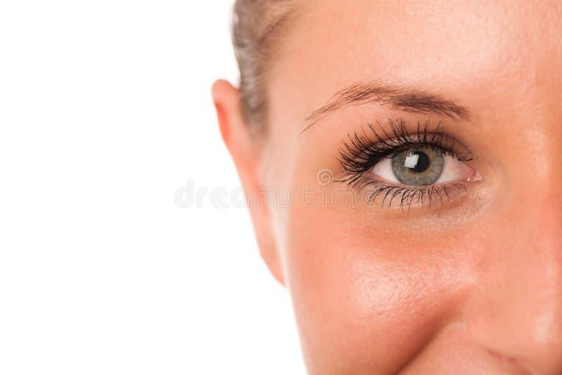 一张preety妇女面孔的特写镜头照片 免版税库存图片