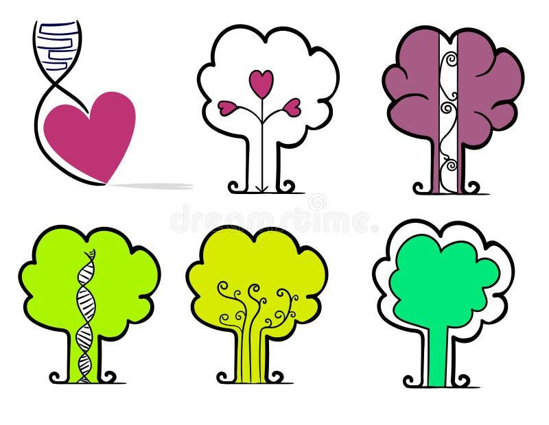 一心脏和五个平的等高对象以树的形式 皇族释放例证