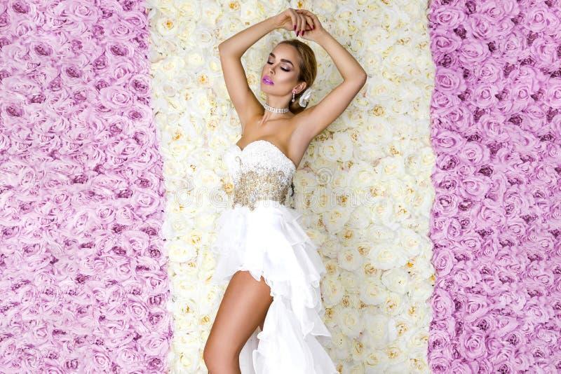 一惊人的婚纱的美丽的新娘有鞋带的 玫瑰背景的-图象秀丽年轻女人 免版税图库摄影