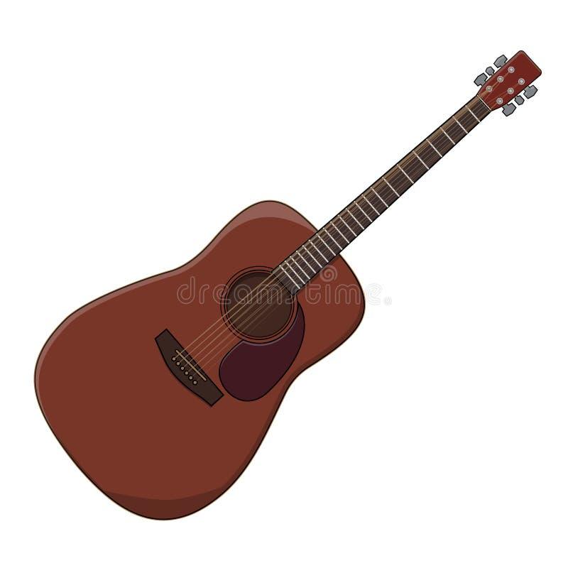 一把乐器古典吉他的传染媒介例证在白色背景的有一个角度四十五度 库存例证