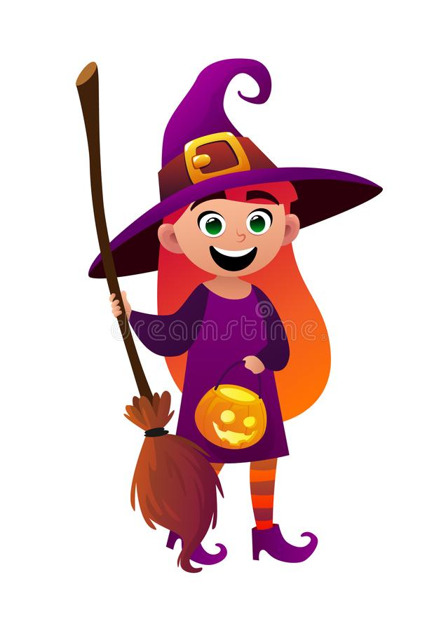 一把小女孩巫婆和笤帚在白色背景 库存例证