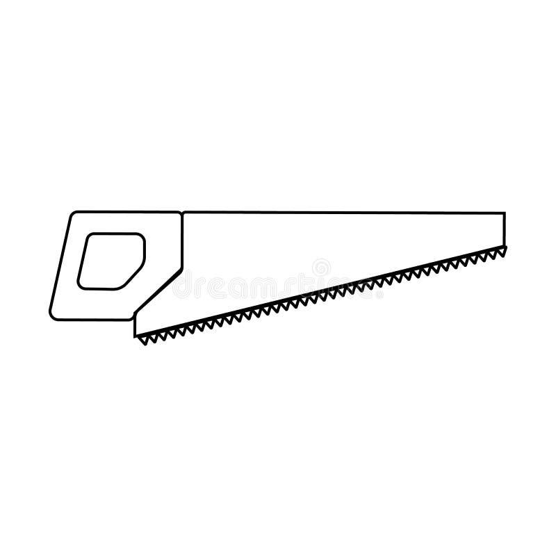 一把手锯、一把引形钢锯有牙的和把柄的一个急剧建筑黑白象切开的木头 建筑室内漆滚筒工具墙壁 皇族释放例证