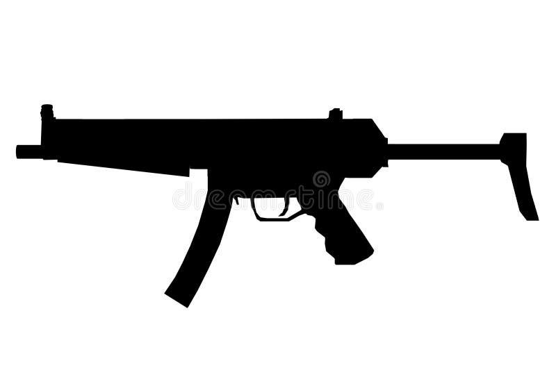 一支冲锋枪的剪影反对一个白色背景的 皇族释放例证
