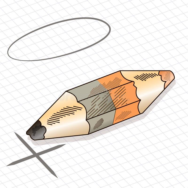一支色的铅笔,被隔绝的双重铅笔的例证 图库摄影