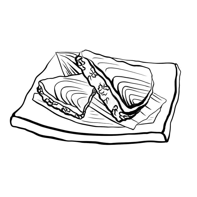 一日本料理的等高例证用米和三文鱼在板材 传染媒介黑白例证 向量例证