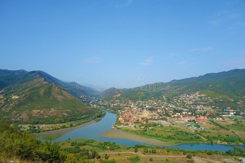 一最著名的地方在乔治亚-从Jvari修道院的顶视图Aragvi和Mtikvari riger和古都的姆茨赫塔 图库摄影