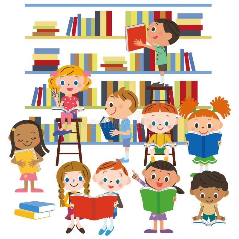 读一本书的孩子在图书馆里 库存例证