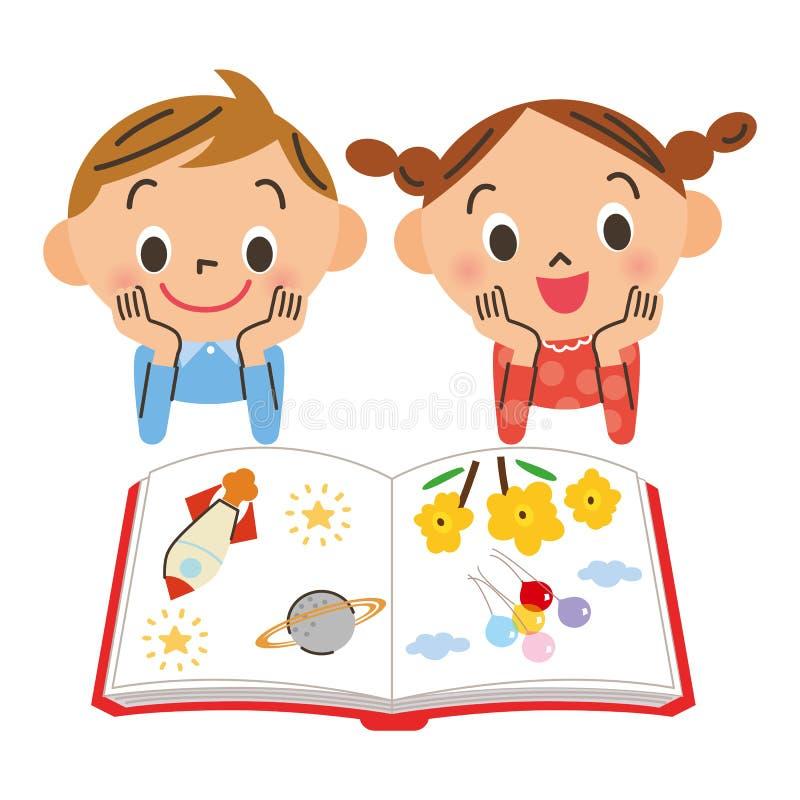 读一本书的孩子 皇族释放例证