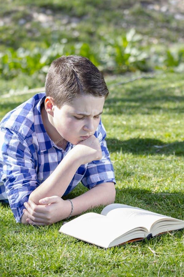 读一本书的年轻男孩在有浅景深的森林 库存图片
