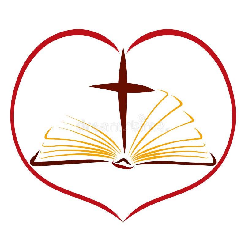 一本开放书、十字架和心脏、圣经和上帝的爱 库存例证