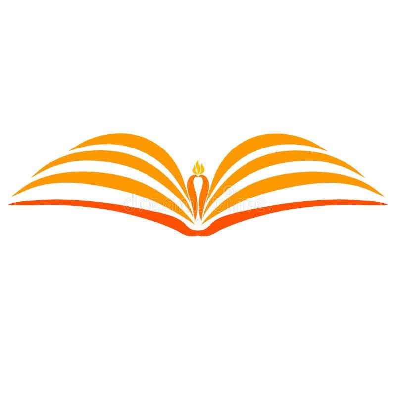 一本开放书和一个灼烧的蜡烛在它的页之间 皇族释放例证