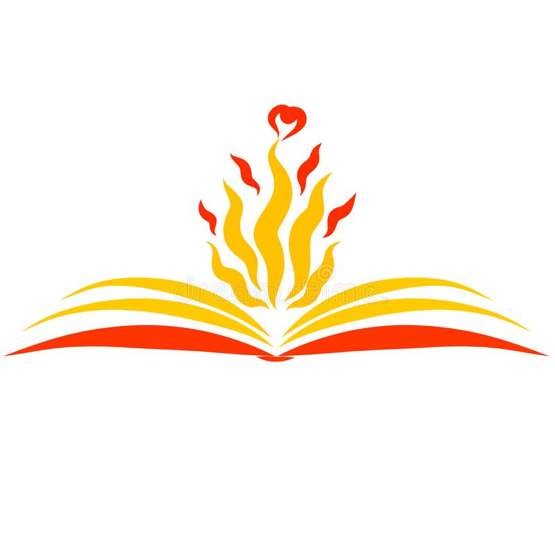 一本开放书和火焰与心脏在它的页上 皇族释放例证