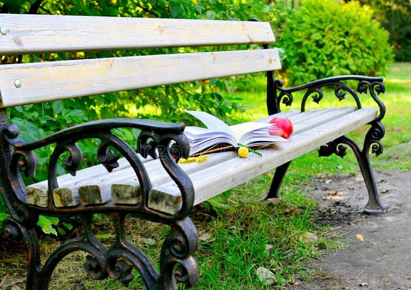 一本开放书在一条长凳说谎在公园,在它旁边是一个红色苹果和黄色秋叶 免版税库存图片