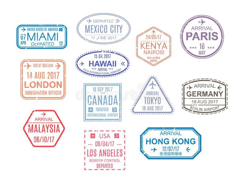 一本开放护照的模板与邮票,封印的 旅行,移民 库存例证