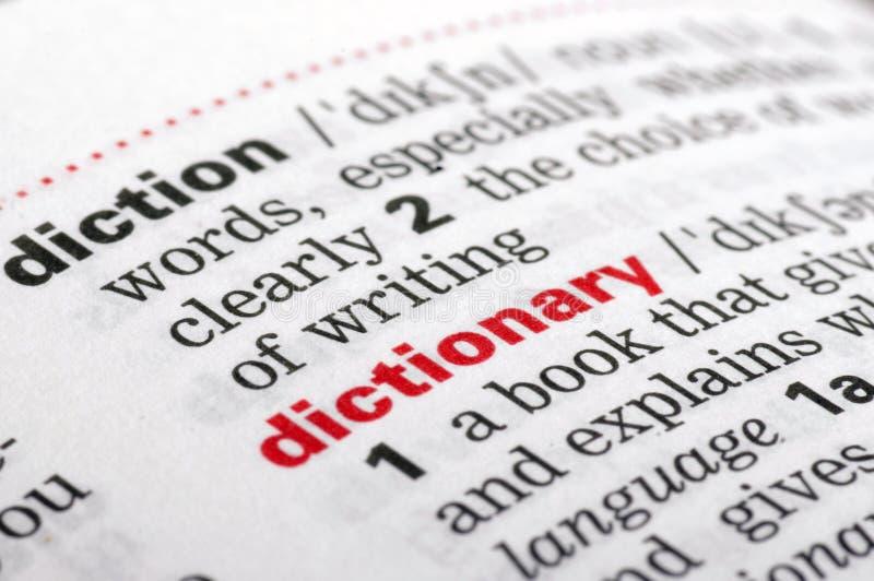 从一本自由字典的字典词,关闭  免版税库存照片