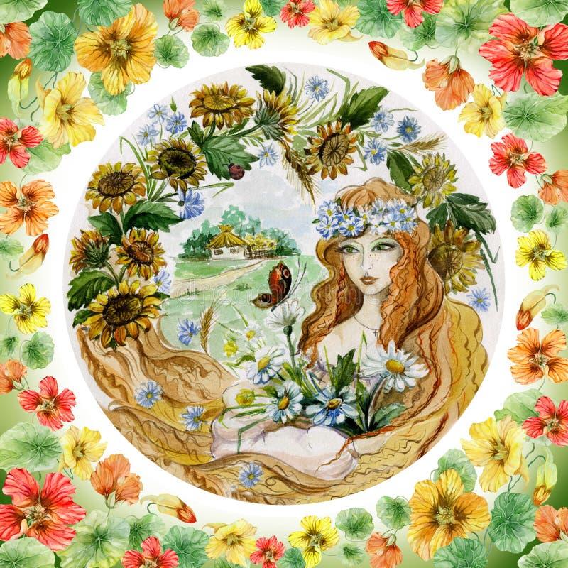 一本诗歌选的美丽的年轻女人有花的反对乡下背景的 一个女孩的概念作为一个夏天 皇族释放例证