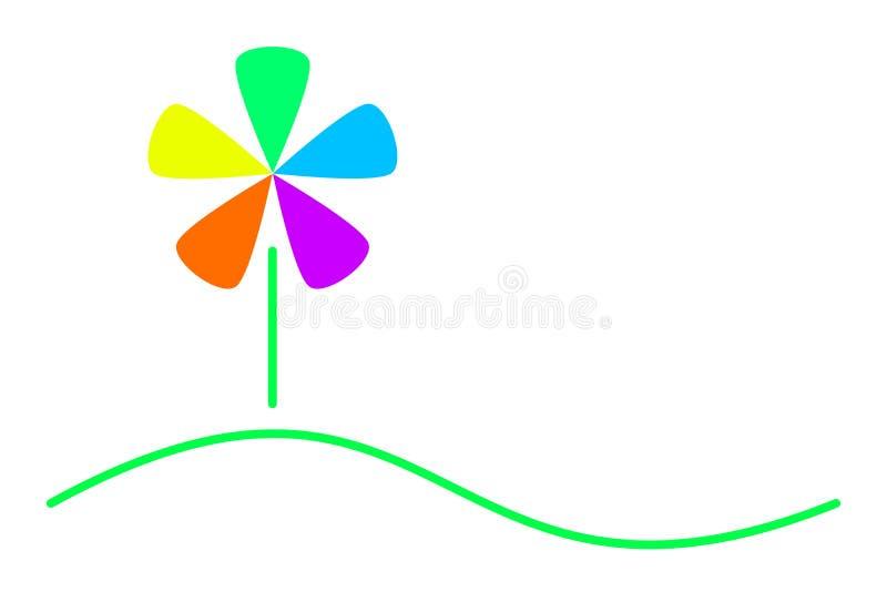 一朵五颜六色的花的商标与一个绿色草甸的 向量例证