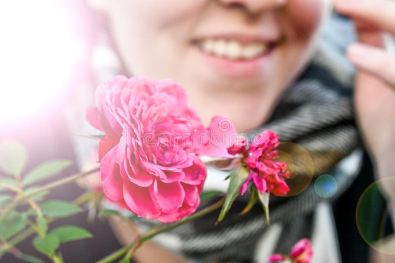 一朵光芒四射的桃红色花由看来是冷的一名微笑的愉快的妇女举行了 免版税图库摄影