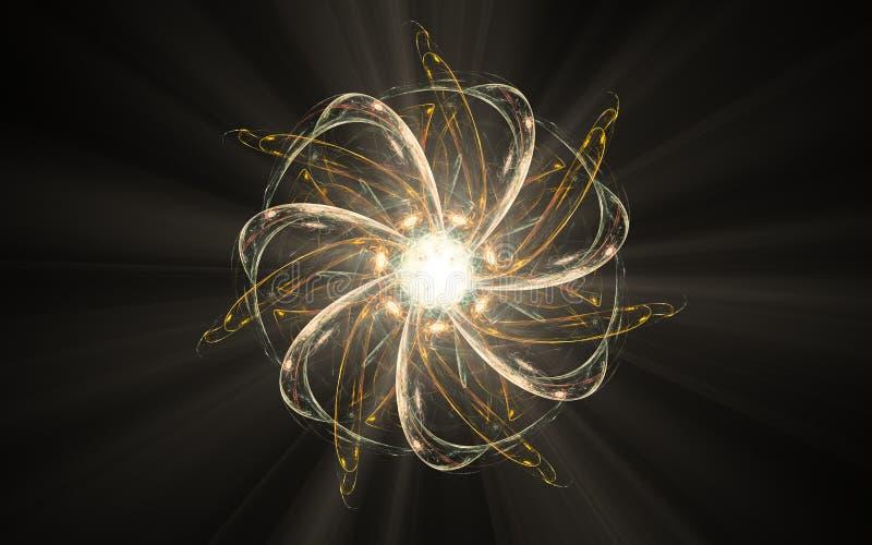 一朵抽象花的背景影像与稀薄的黄色和白色瓣的和发光中间与在黑背景的光芒 库存例证
