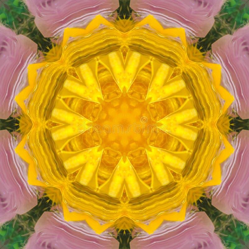 一朵数字紫色花的黄色中心 库存例证