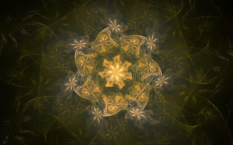 一朵精美黄色花的抽象背景影像反对一块波浪透亮帆布的 向量例证