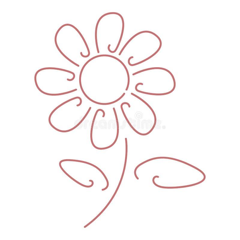 一朵美丽的花的被隔绝的剪影 向量例证