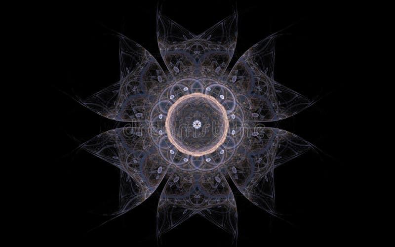 一朵美妙的花的抽象图象与六个透明瓣的有叉端的和在黑背景的圆的中间里面 库存例证