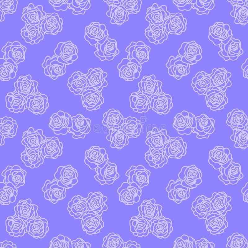 一朵花的白色概述在紫色无缝的背景的 r r 装饰花卉 库存例证
