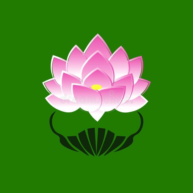 一朵莲花的桃红色风格化图象在绿色背景的 承诺的标志对菩萨的在日本 库存例证