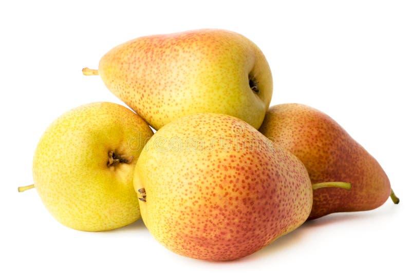 一束成熟梨在白色关闭-,被隔绝 库存图片