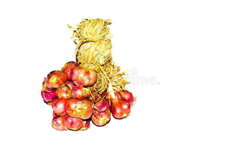 一束烹调的在白色背景隔绝的泰国烹调亚洲红洋葱青葱成份 库存图片