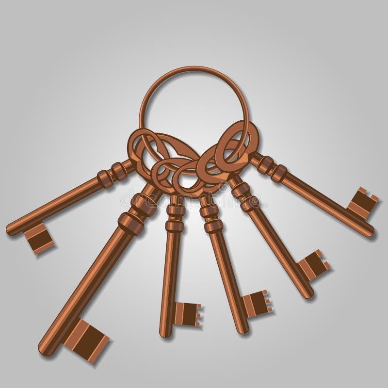 一束老钥匙。 向量例证