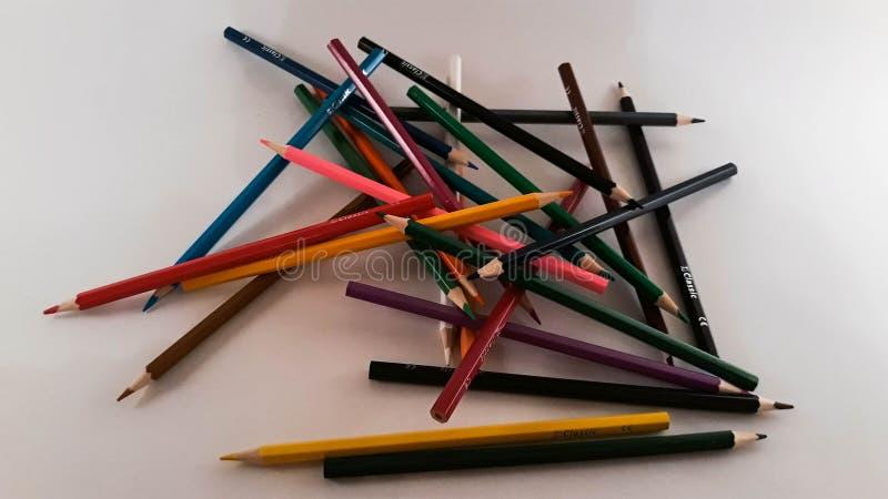 一束色的铅笔 库存图片