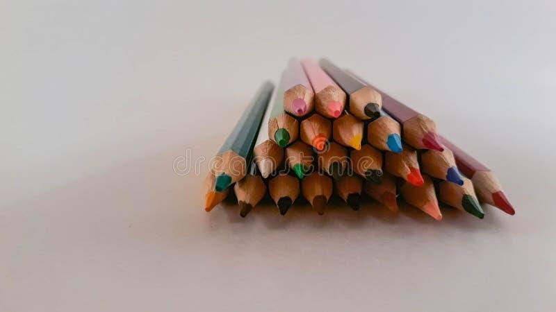 一束色的铅笔 免版税库存图片