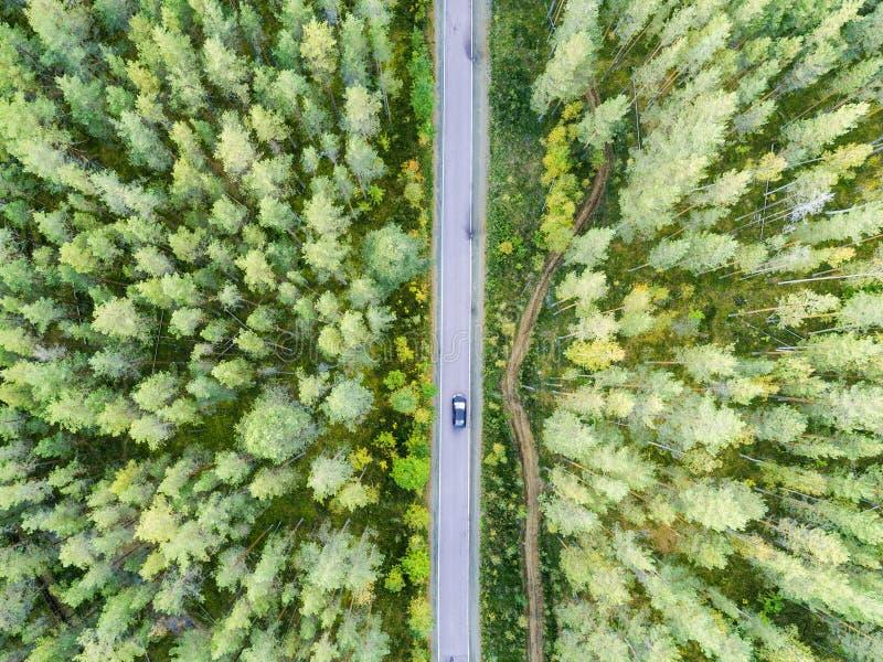一条乡下公路的鸟瞰图在有移动的汽车的森林里 美好的横向 从上面夺取与寄生虫 空中鸟的 库存图片