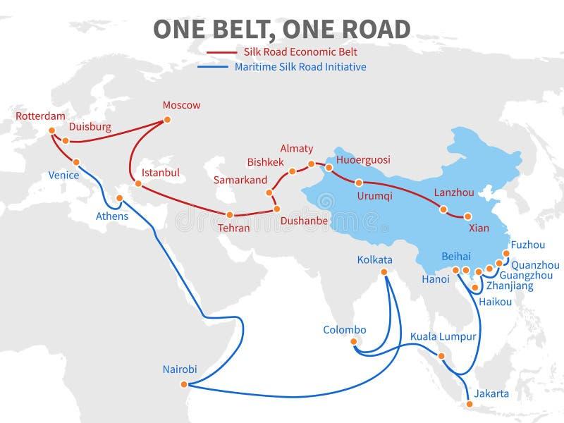 一条传送带-一路中国现代丝绸之路 在世界地图传染媒介例证的经济运输方式 皇族释放例证