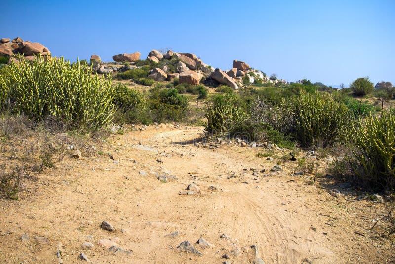 一条供徒步旅行的小道通过一干燥岩石 库存照片