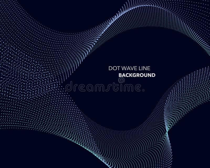 一条典雅的抽象传染媒介小点波浪线未来派样式背景模板 向量例证