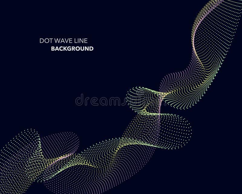 一条典雅的抽象传染媒介小点波浪线未来派样式背景模板 皇族释放例证