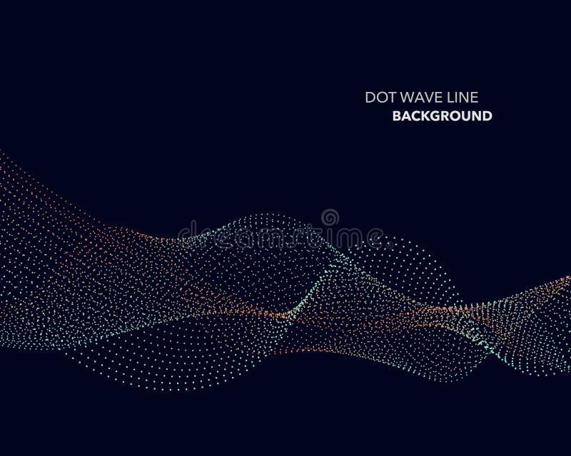 一条典雅的抽象传染媒介小点波浪线未来派样式背景模板 库存例证